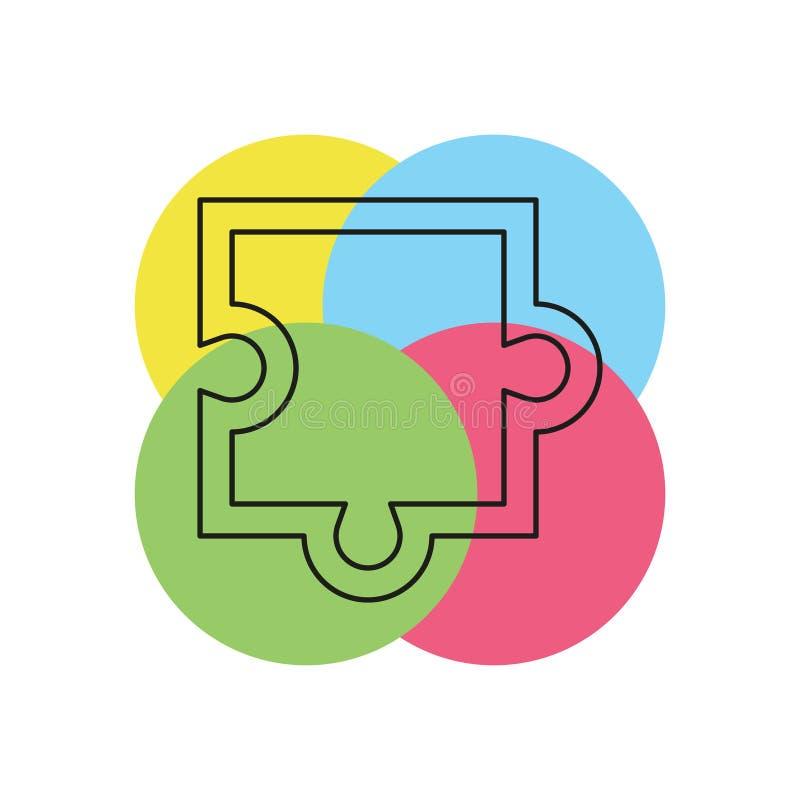 Puzzlespielstückikone, Vektorpuzzlespielillustration lizenzfreie abbildung