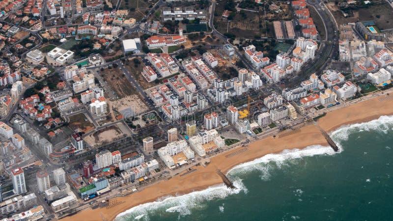 Puzzlespielstadt Faro vom obove stockfotos