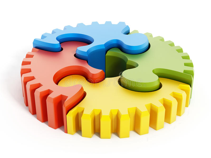 Puzzlespielteile, die einen Gang bilden lizenzfreie abbildung