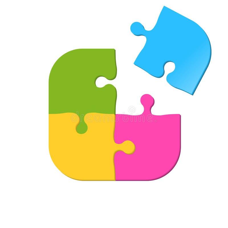 Puzzlespielvektorikone von vier Stücken Zackiges Spielkonzept stock abbildung