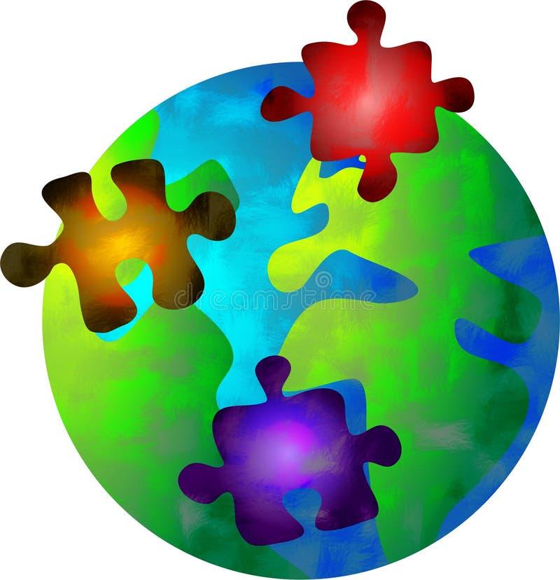 Puzzlespielwelt lizenzfreie abbildung