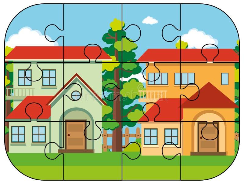 Puzzlestücke von zwei Häusern vektor abbildung