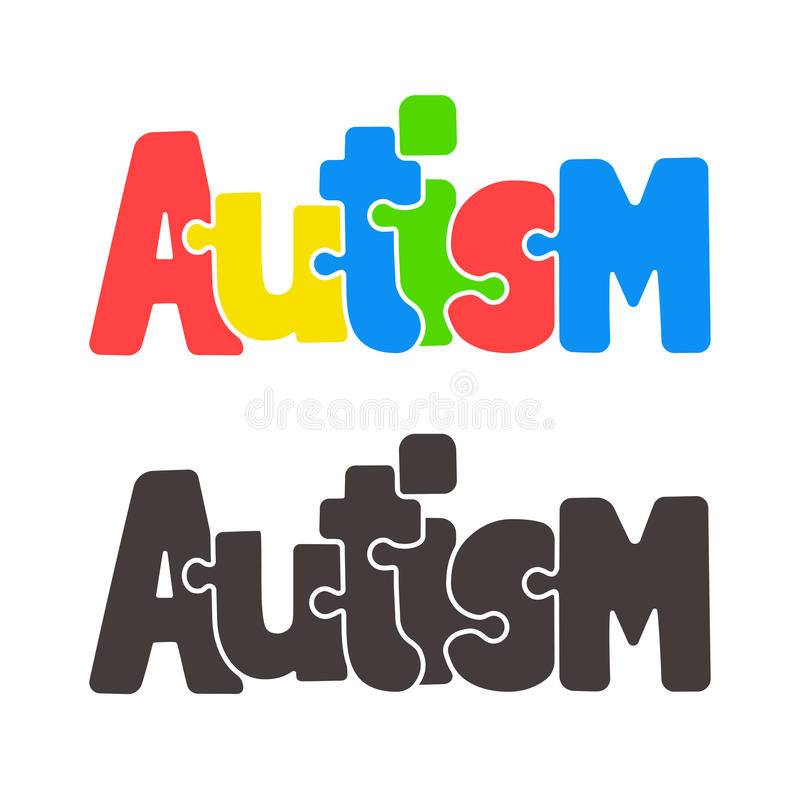 Puzzletext des Autismus lizenzfreie abbildung