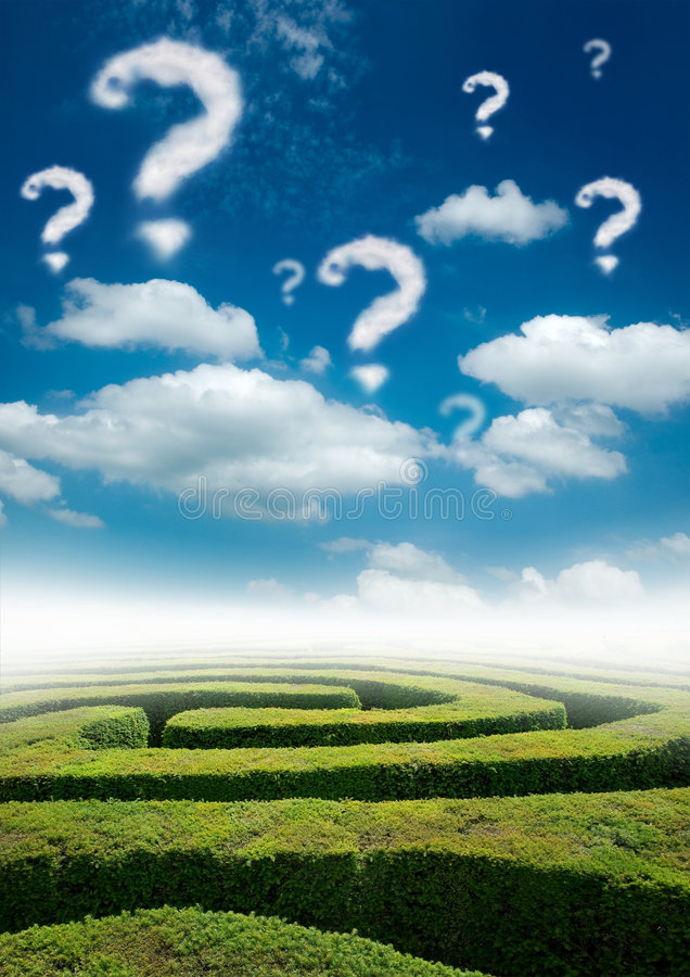 Puzzling World. A maze under a blue sky with question mark clouds