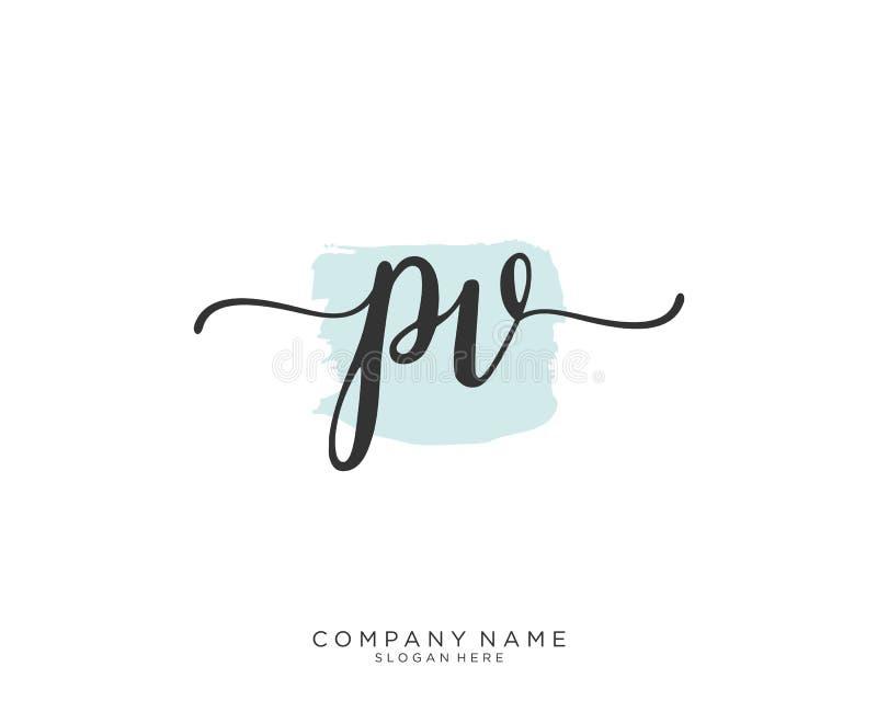 PV inicjału handwriting logo pojęcie ilustracji