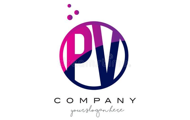 PV P V Circle Letter Logo Design With Purple Dots Bubbles Stock ...