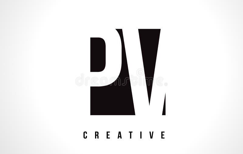Download PV P V White Letter Logo Design With Black Square Stock Vector