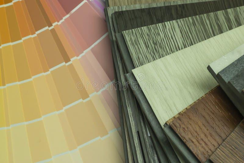 PVC聚合物乙烯基和色彩设计样品顾客的能选择设计在拷贝空间内 免版税库存图片