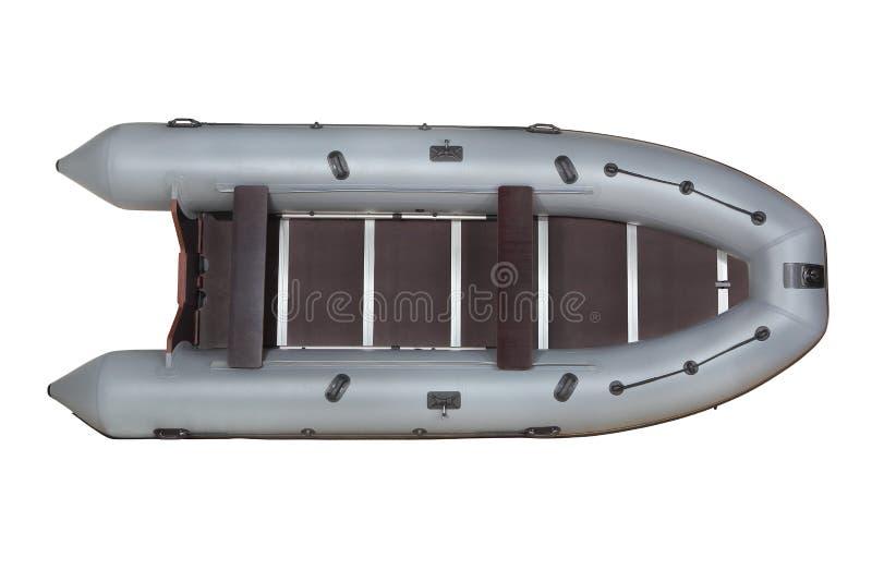 Pvc cinzento, inflável do barco, vista superior, isolada no branco. foto de stock
