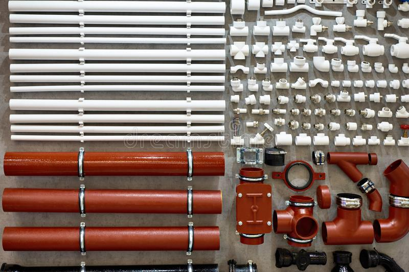 PVC fittings and plastic pipes for water heating system royalty free stock photos