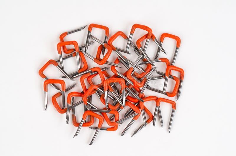 PVC Izolujący Elektrycznego drutu bezpieczeństwo Staples zdjęcie stock