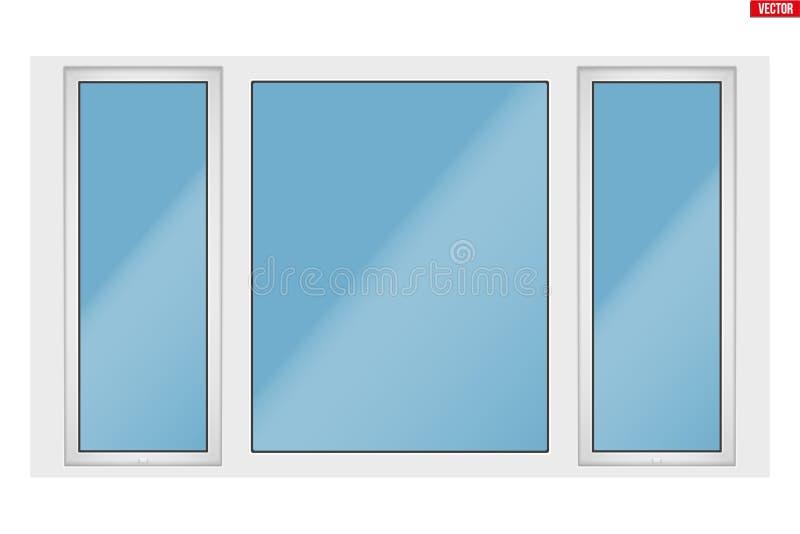 PVC okno z trzy szarfą ilustracji