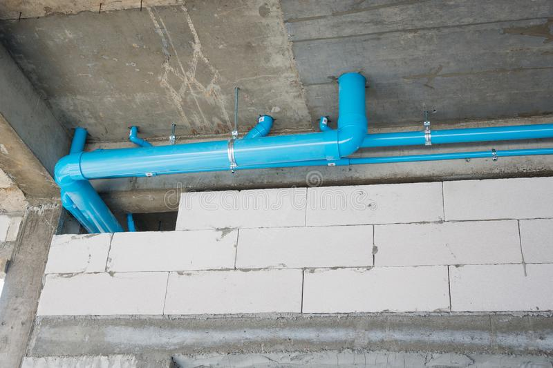 Pvc pipe for water piping system in house building construction stock image