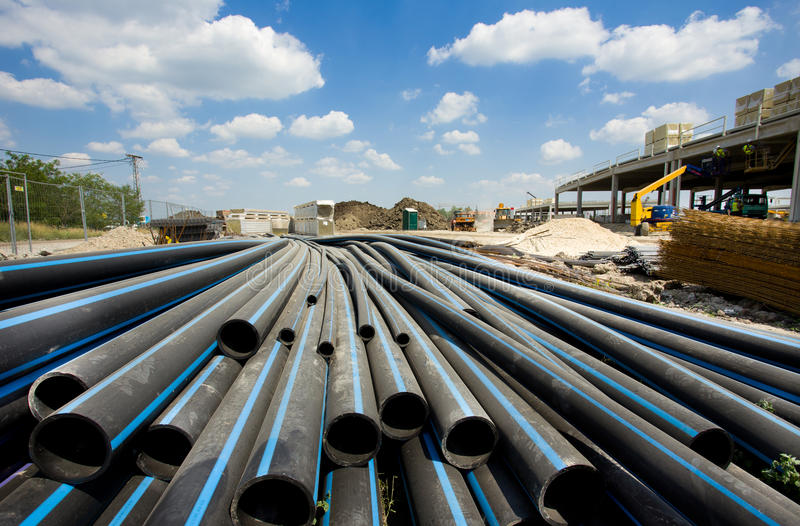 PVC pipes ar building site royalty free stock images