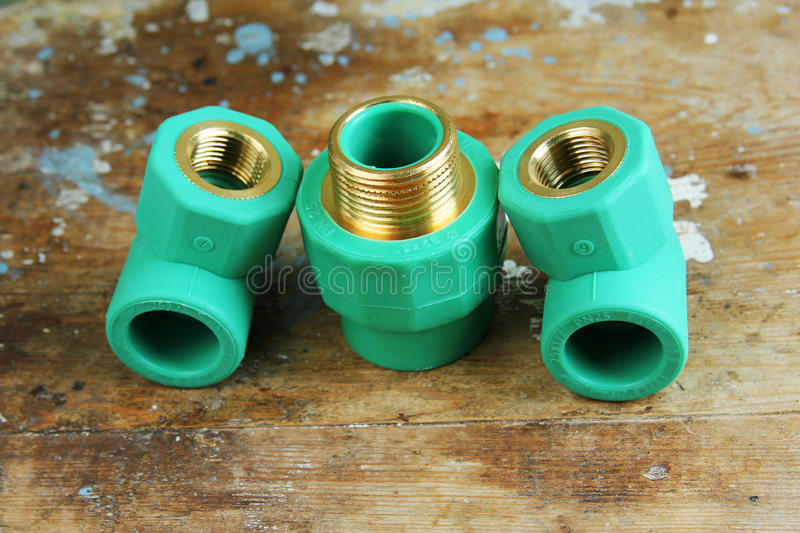 Pvc plumbing fittings and connections stock image