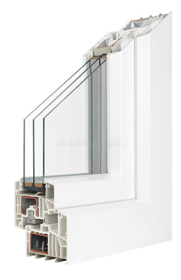 Pvc-profilfönster med trefaldig fönsterrutor arkivbild