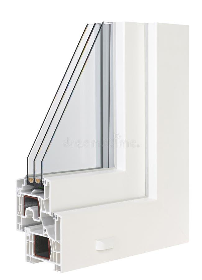 Pvc-profilfönster med trefaldig fönsterrutor arkivfoton