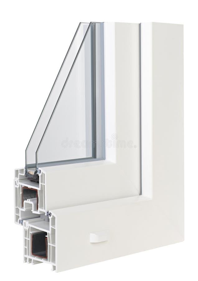 Pvc-profilfönster med trefaldig fönsterrutor arkivfoto