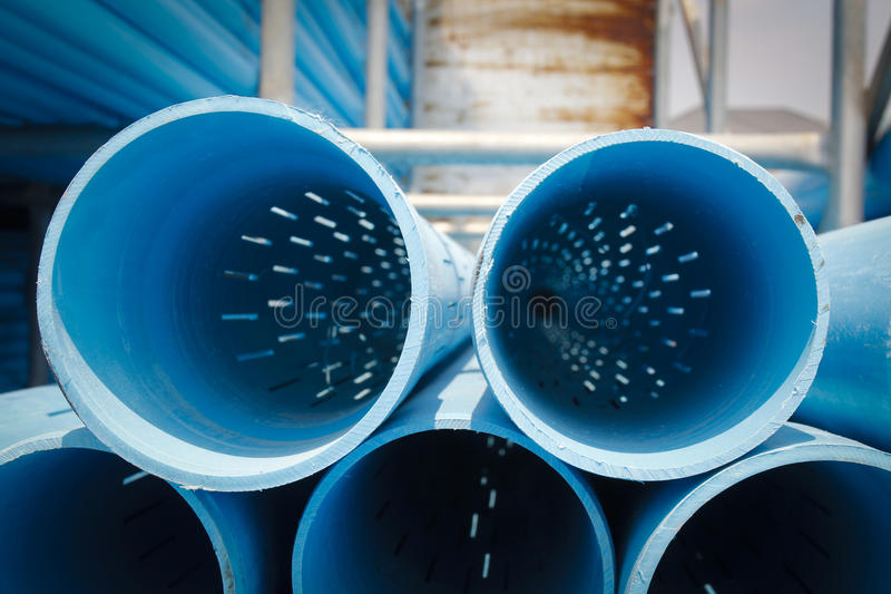 Pvc screen pipe well casing pipes royalty free stock