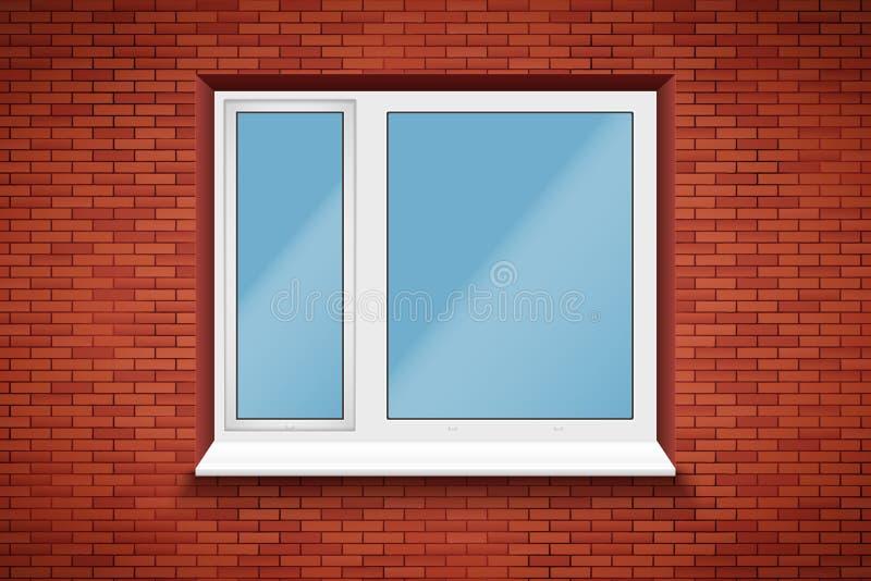 Pvc-venster in bakstenen muur stock illustratie