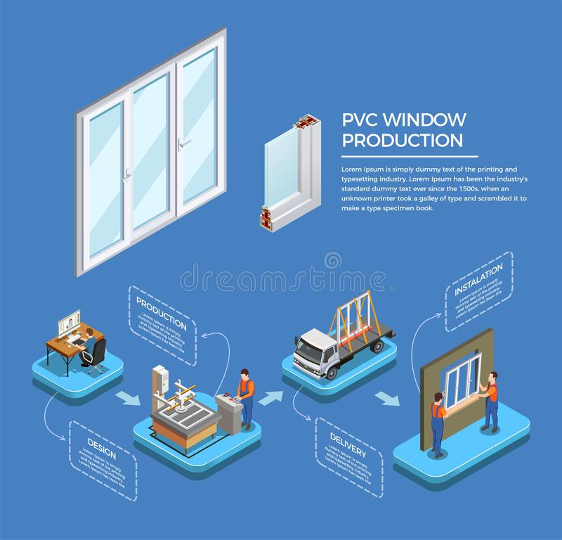 PVC Windows Production Isometric Composition. Pvc windows stages of production from design till installation isometric composition on blue background vector vector illustration