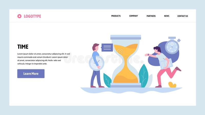 PVector web site gradient design template. Business Project deadline and time management. Landing page concepts for. Website and mobile development. Modern flat vector illustration