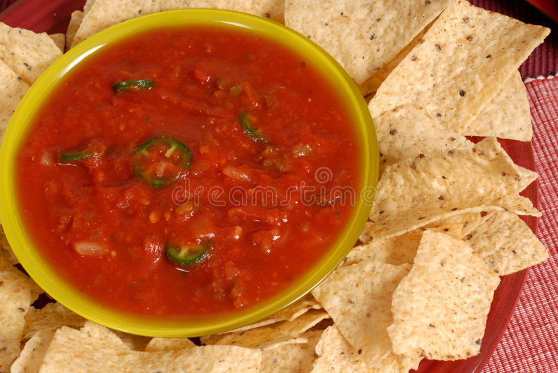 Download Pverhead View Of A Bowl Of Salsa With Tortilla Chips Royalty Free Stock Images - Image: 1728559