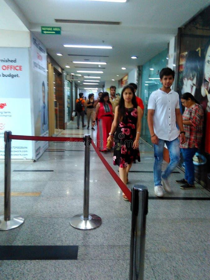 pvr城市购物中心的电影院 在夏利马尔bagh 免版税库存照片
