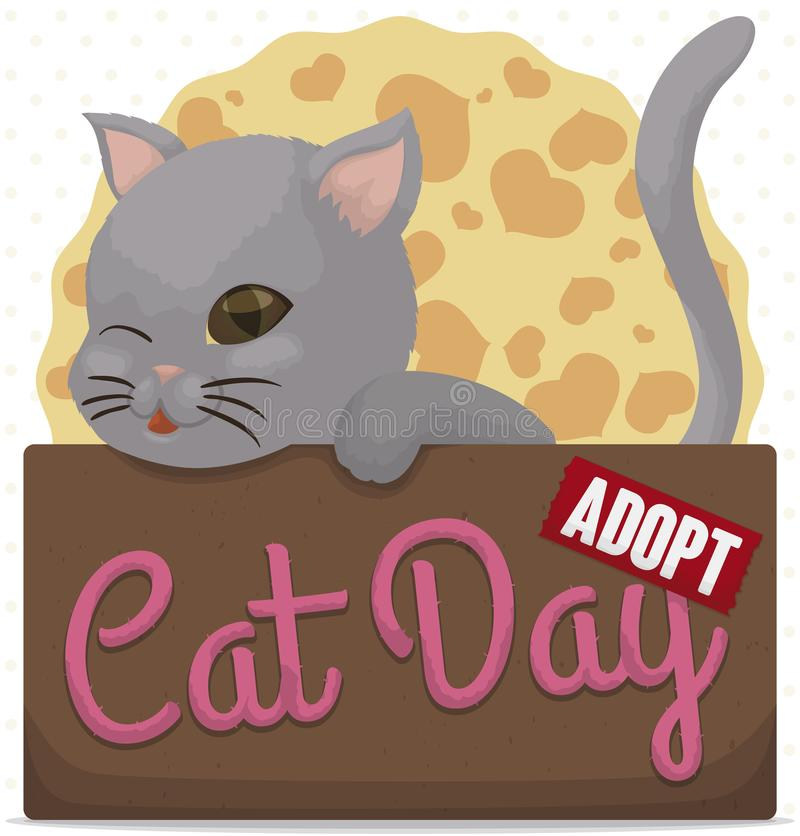 Kitty in Box Promoting Pets Adoption during Cat Day, Vector Illustration. Cute kitty winking at you, inside a cardboard box promoting pets adoption and much love stock illustration