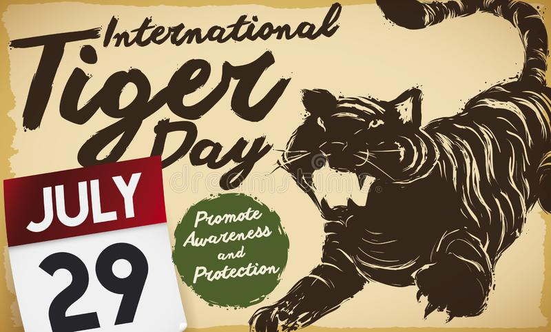 Tiger Silhouette Drawing and Calendar to Celebrate International Tiger Day, Vector Illustration stock illustration
