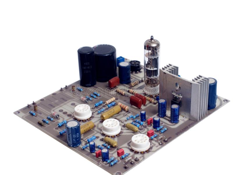 PWB da placa de circuito do phono do amplificador da válvula do tubo de vácuo imagem de stock