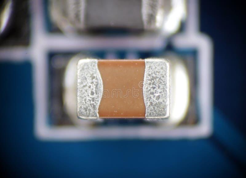 PWB macro del smd del condensador fotografía de archivo libre de regalías