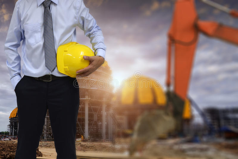 PWork safety at construction site concept . stock images