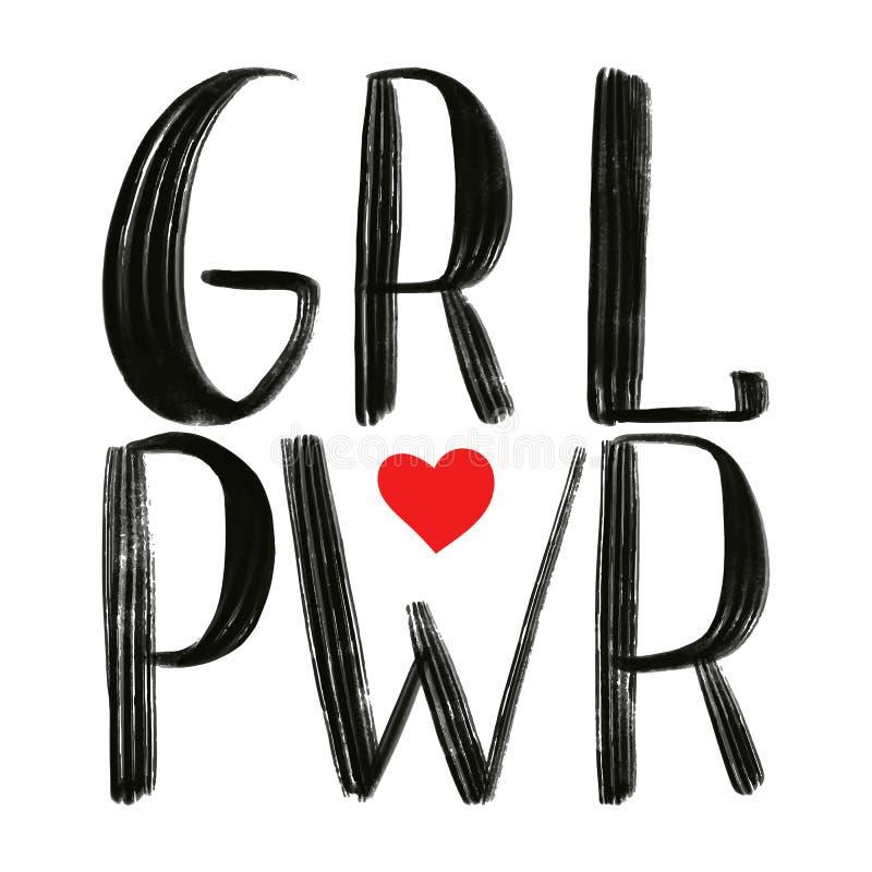 PWR GRL Menina do poder Frase preta do vetor com coração vermelho ilustração royalty free