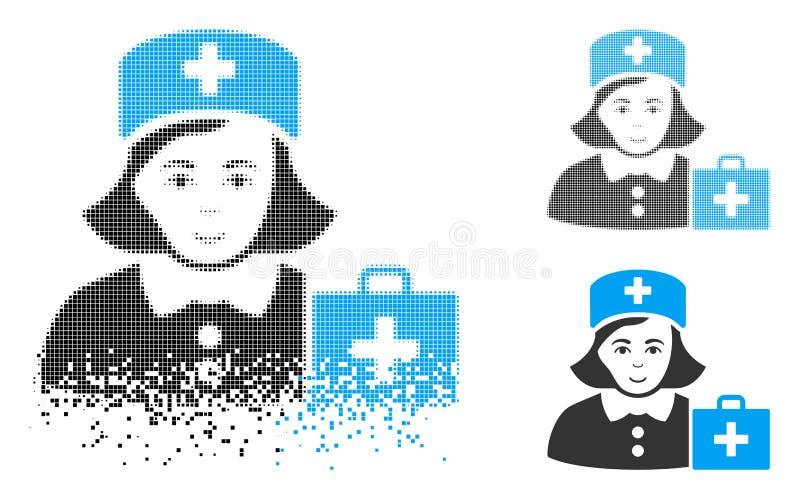 Pył kropki Halftone pierwszej pomocy pielęgniarki ikona z twarzą ilustracja wektor