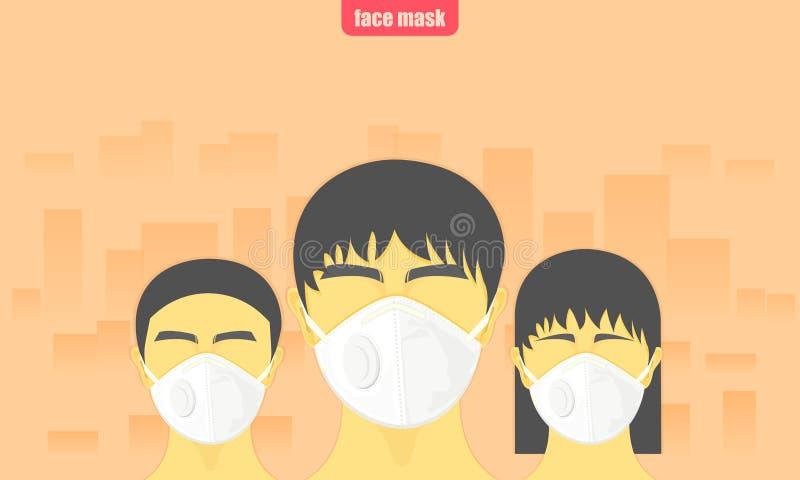 Pył krytyczny ludzie jest ubranym gacenie twarzy maskę od zanieczyszczenie powietrza w miasto wektorowej ilustracji eps10 ilustracja wektor