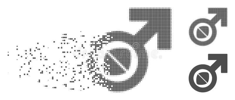 Pyłu piksla Halftone potenci pastylki Męska ikona ilustracji
