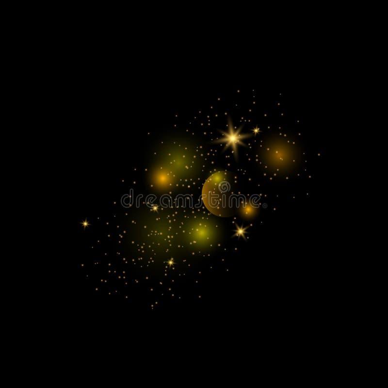 Pyłu złoto Iskrzasty magiczny py? royalty ilustracja