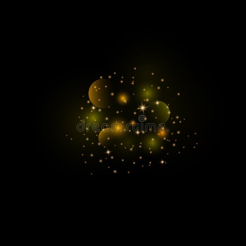 Pyłu złoto Iskrzasty magiczny py? ilustracji
