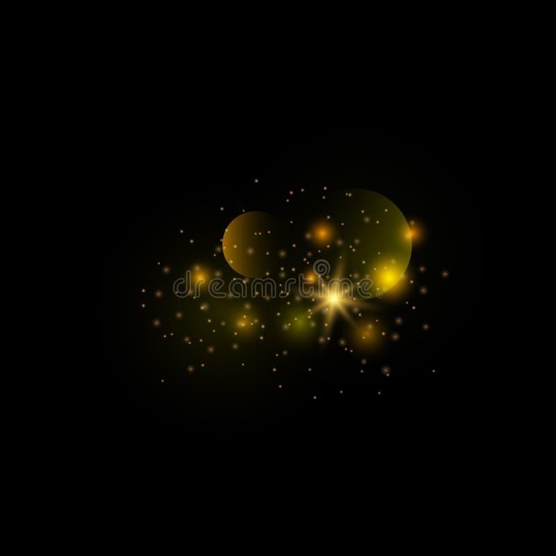 Pyłu złoto Iskrzasty magiczny py? ilustracja wektor