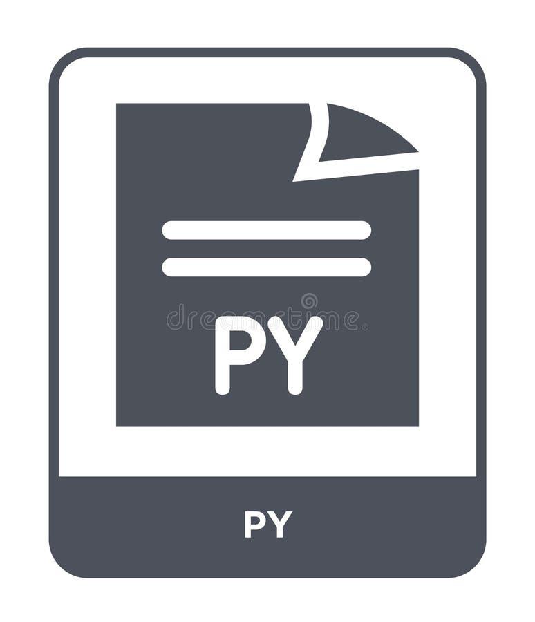 py-symbol i moderiktig designstil py-symbol som isoleras på vit bakgrund enkelt och modernt plant symbol för py-vektorsymbol för  stock illustrationer
