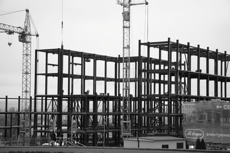 Industrial building under construction on Kalinin Prospekt in Pyatigorsk, Russia. Pyatigorsk, Russia - February 15, 2018: View of the industrial building under royalty free stock images