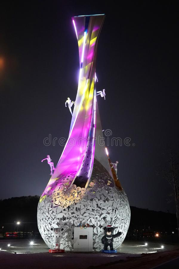 PyeongChang Brightens the World sculpture in front of Holiday Inn Resort Alpensia. PYEONGCHANG, SOUTH KOREA - FEBRUARY 18, 2018: PyeongChang Brightens the World royalty free stock photo