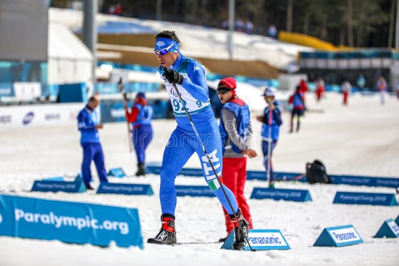 Pyeongchang 2018 centro di biathlon del 14 marzo - Toninelli Cristian fotografia stock libera da diritti