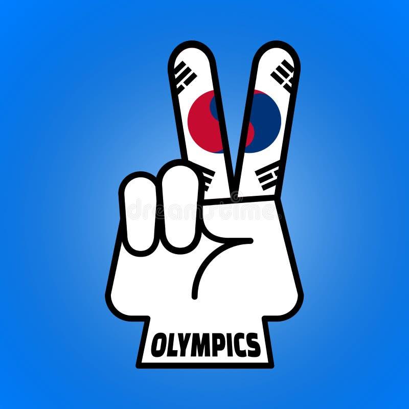 PYEONGCHANG, COREA DEL SUR, el 9 de febrero de 2018 - ejemplo del símbolo de paz de la mano para los Juegos Olímpicos surcoreanos stock de ilustración