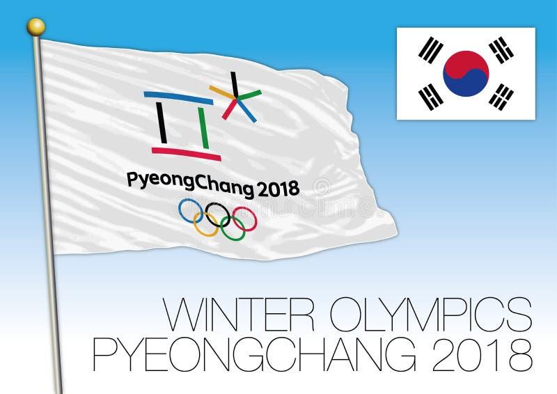 PYEONGCHANG, COREIA DO SUL, em fevereiro de 2018 - bandeira dos jogos dos Olympics de inverno e símbolo, Coreia do Sul ilustração stock