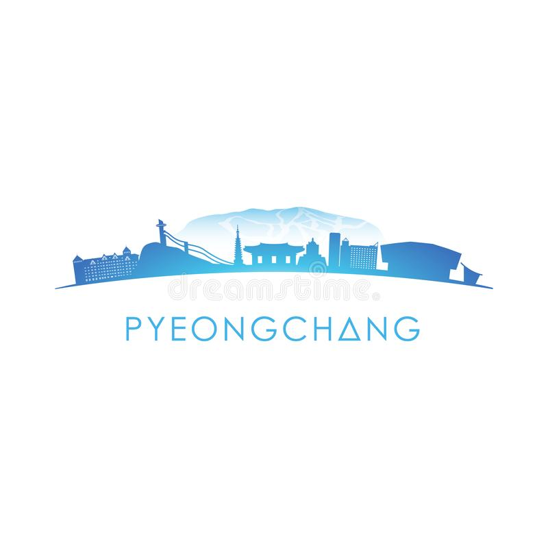 Pyeongchang horisontkontur vektor illustrationer