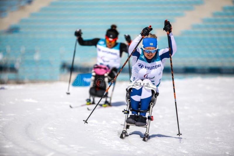 Pyeongchang 2018 Marzec Biathlon 14th centrum w przez cały kraj S - obraz stock
