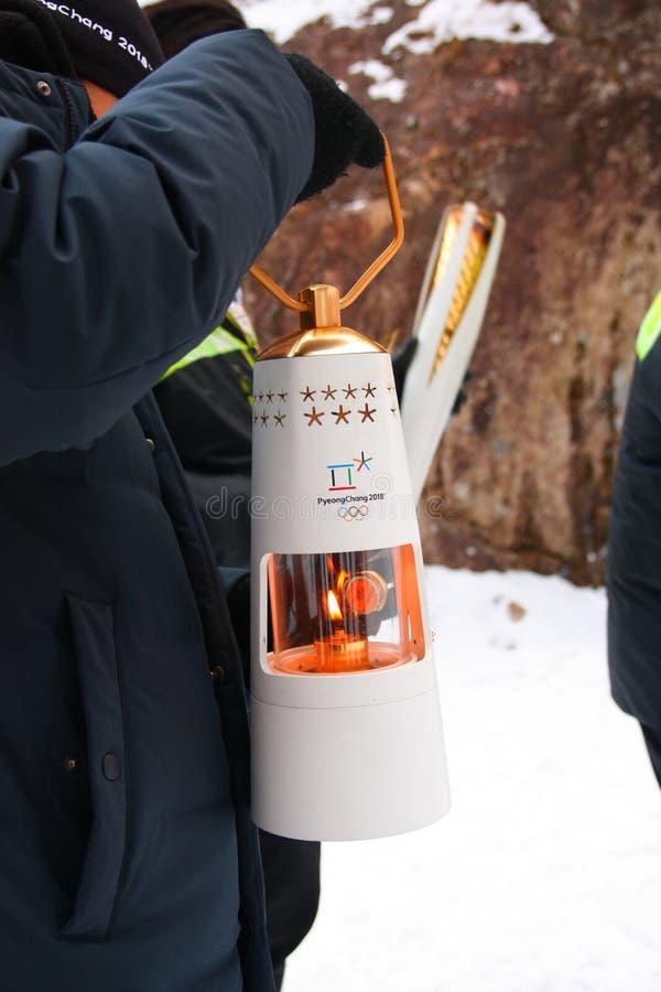 Pyeongchang 2018 Olympic lantern in Seoraksan National Park royalty free stock photos
