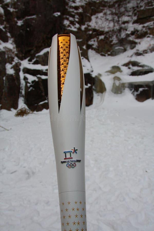 Pyeongchang 2018 Olympic torch in Seoraksan National Park royalty free stock photo